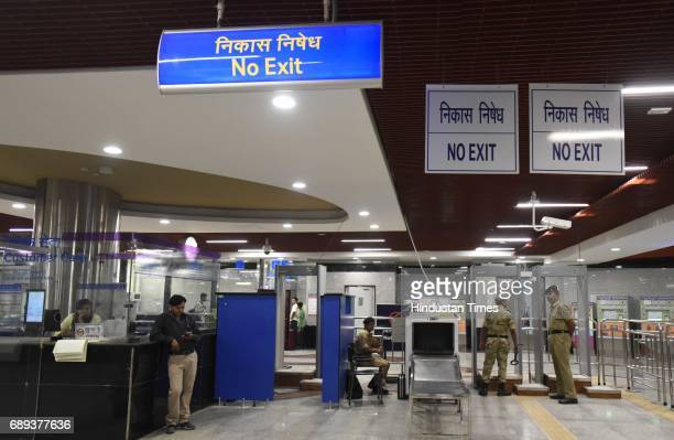 Newly opened metro station from ITO to Kashmere Gate section after Union Minister of Urban Development M Venkaiah Naidu and Chief Minister of Delhi...