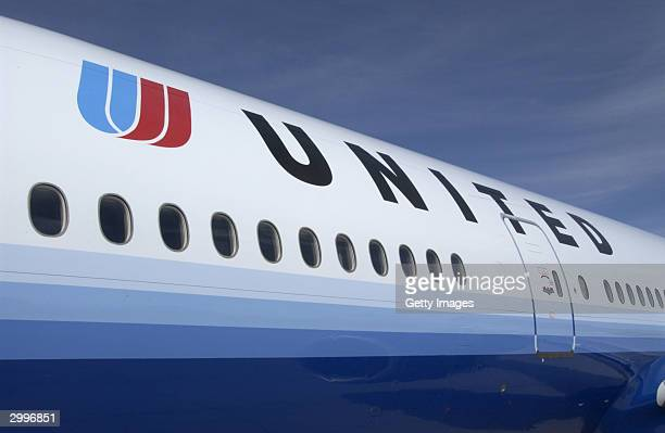 A newly painted United Airlines jet is seen in this UAL handout photograph from its corporate headquarters February 19 2004 in Elk Grove Village...