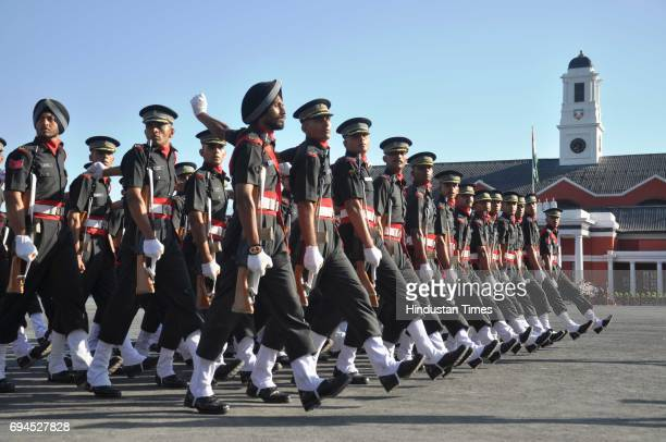 Newly passed out officers marching during the Passing Out Parade at Indian Military Academy on June 10 2017 in Dehradun India Indian Army Chief...