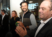 Newly Pau's New Zealander center Conrad Smith looks on as he arrives at the Pau airport southern France on December 14 2015 Smith has been transfered...