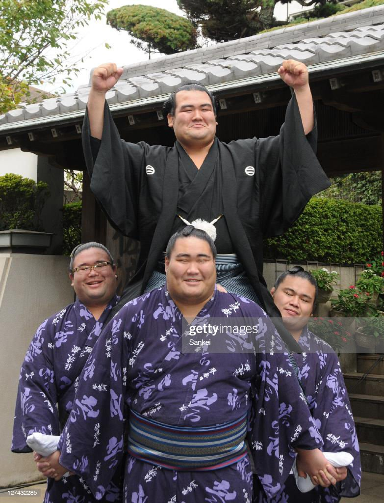 Newly promoted Ozeki (second highest rank) Kotoshogiku celebrates his promotion to Ozeki at Sadogatake Stable on September 28, 2011 in Matsudo, Chiba, Japan.