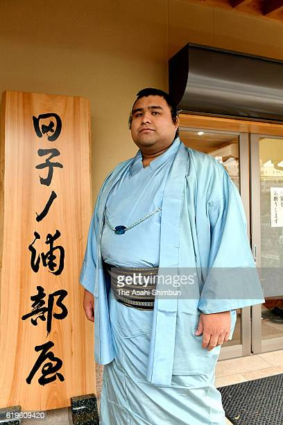Newly promoted sekiwake Takayasu poses for photographs during a press conference after the new sumo ranking annoucement ahead of the Kyushu tourament...