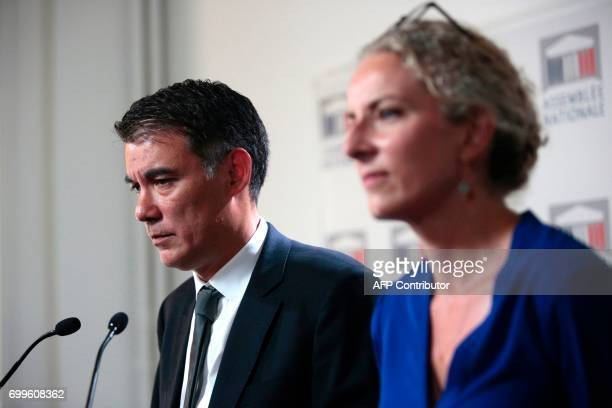 Newly reelected French socialist party's spokesperson and MP Olivier Faure looks on as he speaks during a joint press conference with French left...