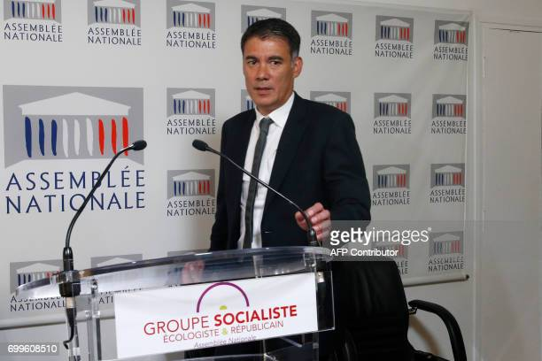 Newly reelected French socialist party's spokesperson and MP Olivier Faure arrives for a joint press conference with French left wing Socialist party...
