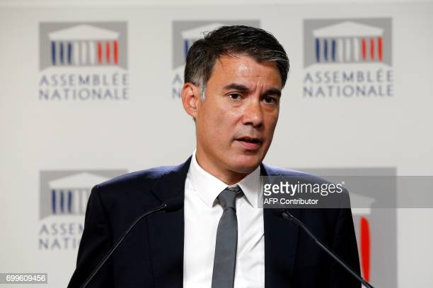 Newly reelected French socialist party's spokesperson and MP Olivier Faure delivers a speech during a joint press conference with French left wing...