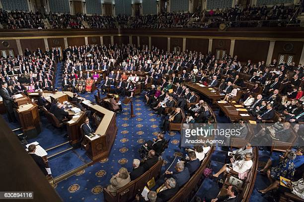 Newly reelected House Speaker Paul Ryan delivers a speech during the swearing in of the House of Representatives and the 115th US Congress at the US...