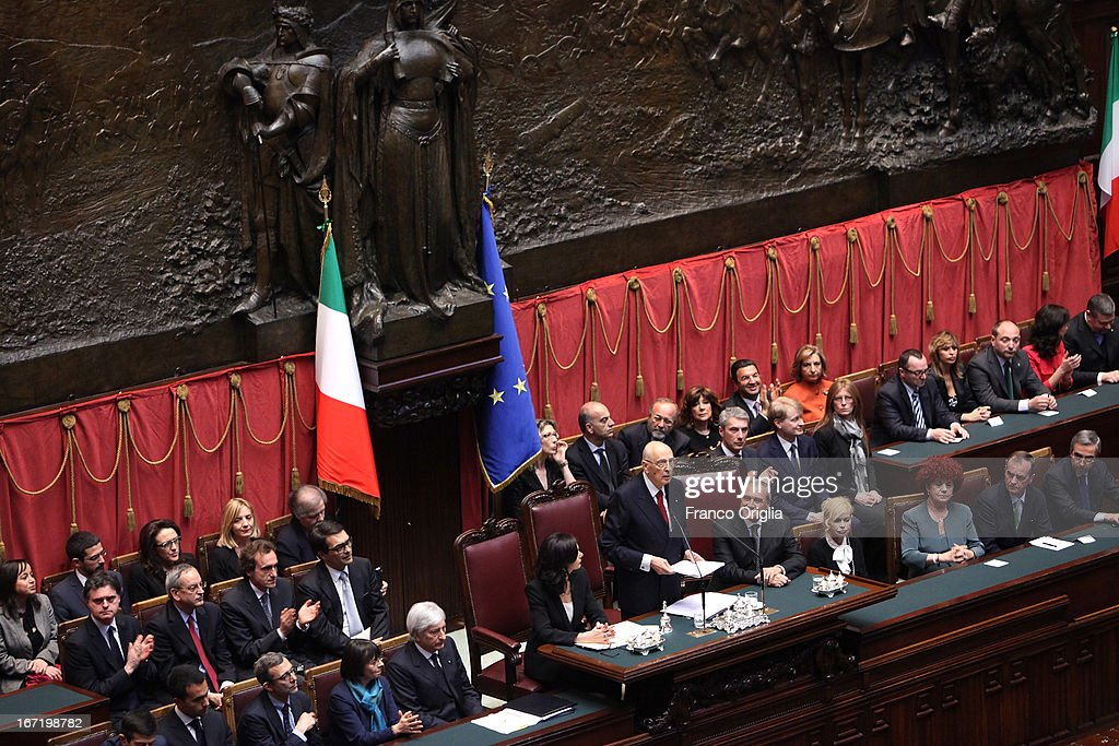 Newly re-elected President <a gi-track='captionPersonalityLinkClicked' href=/galleries/search?phrase=Giorgio+Napolitano&family=editorial&specificpeople=568986 ng-click='$event.stopPropagation()'>Giorgio Napolitano</a> (C) inaugurates his mandate before a joint session of parliament at Palazzo Montecitorio on April 22, 2013 in Rome, Italy. Napolitano, who is 87 years old, was re-elected for a second 7-year term as Italian President on April 19.