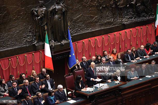 Newly reelected President Giorgio Napolitano inaugurates his mandate before a joint session of parliament at Palazzo Montecitorio on April 22 2013 in...