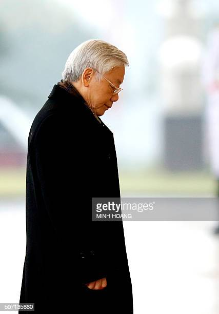 Newly reelected Vietnam Communist Party Secretary General Nguyen Phu Trong arrives at the National Convention Center for the last day of the 12th...