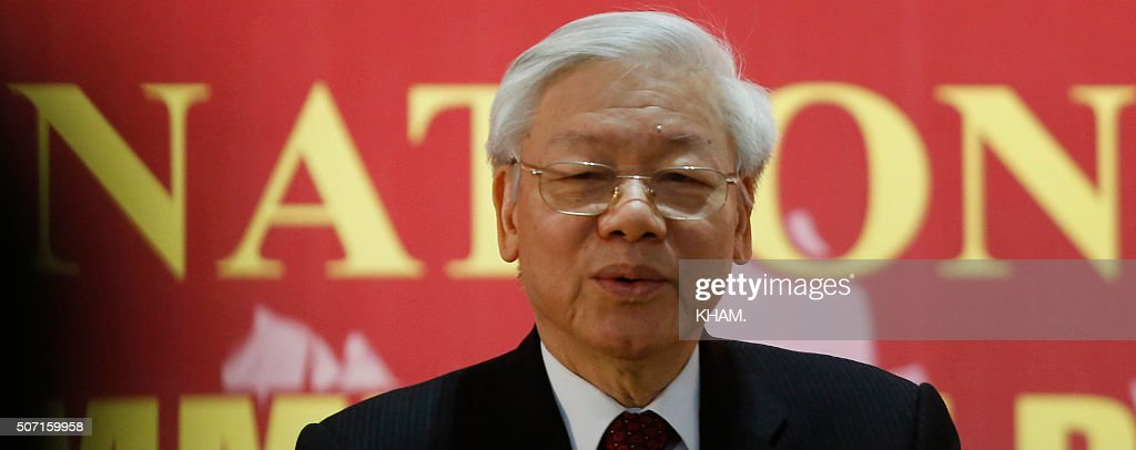 Newly re-elected Vietnam Communist Party (VCP) Secretary General <a gi-track='captionPersonalityLinkClicked' href=/galleries/search?phrase=Nguyen+Phu+Trong&family=editorial&specificpeople=537119 ng-click='$event.stopPropagation()'>Nguyen Phu Trong</a> speaks as a press conference after the closing ceremony on the final day of the 12th National Congress of Vietnam's Communist Party in Hanoi on January 28, 2016. Vietnam's top communist leader <a gi-track='captionPersonalityLinkClicked' href=/galleries/search?phrase=Nguyen+Phu+Trong&family=editorial&specificpeople=537119 ng-click='$event.stopPropagation()'>Nguyen Phu Trong</a> was re-elected on January 27 in a victory for the party's old guard which some fear could slow crucial economic reforms in the fast-growing country. AFP PHOTO / POOL / Kham / AFP / POOL / KHAM.
