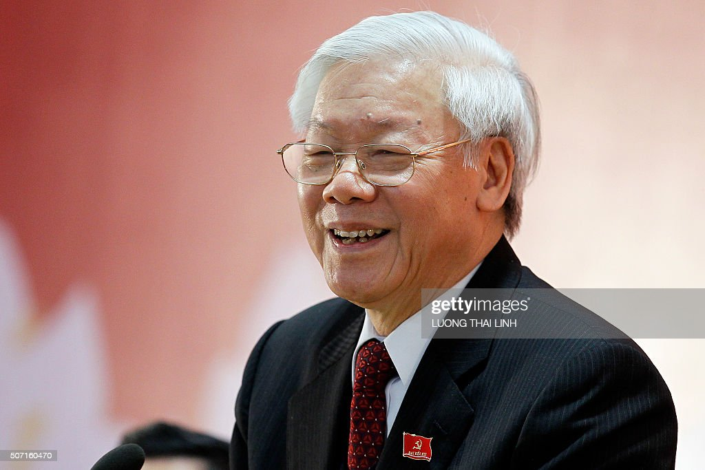 Newly re-elected Vietnam Communist Party (VCP) Secretary General <a gi-track='captionPersonalityLinkClicked' href=/galleries/search?phrase=Nguyen+Phu+Trong&family=editorial&specificpeople=537119 ng-click='$event.stopPropagation()'>Nguyen Phu Trong</a> speaks as a press conference after the closing ceremony on the final day of the 12th National Congress of Vietnam's Communist Party in Hanoi on January 28, 2016. Vietnam's top communist leader <a gi-track='captionPersonalityLinkClicked' href=/galleries/search?phrase=Nguyen+Phu+Trong&family=editorial&specificpeople=537119 ng-click='$event.stopPropagation()'>Nguyen Phu Trong</a> was re-elected on January 27 in a victory for the party's old guard which some fear could slow crucial economic reforms in the fast-growing country. AFP PHOTO / POOL / LUONG THAI LINH / AFP / POOL / Luong Thai Linh