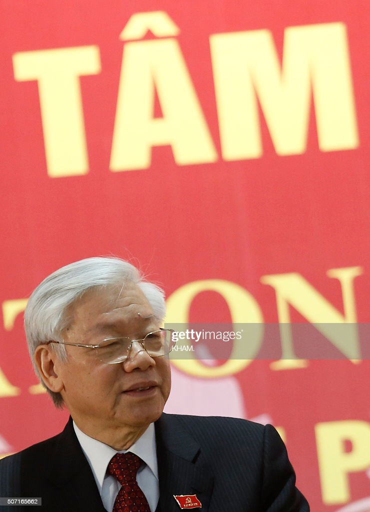 Newly re-elected Vietnam Communist Party (VCP) Secretary General <a gi-track='captionPersonalityLinkClicked' href=/galleries/search?phrase=Nguyen+Phu+Trong&family=editorial&specificpeople=537119 ng-click='$event.stopPropagation()'>Nguyen Phu Trong</a> speaks at a press conference after the closing ceremony on the final day of the 12th National Congress of Vietnam's Communist Party in Hanoi on January 28, 2016. Vietnam's top communist leader <a gi-track='captionPersonalityLinkClicked' href=/galleries/search?phrase=Nguyen+Phu+Trong&family=editorial&specificpeople=537119 ng-click='$event.stopPropagation()'>Nguyen Phu Trong</a> was re-elected on January 27 in a victory for the party's old guard which some fear could slow crucial economic reforms in the fast-growing country. AFP PHOTO / POOL / Kham / AFP / POOL / KHAM.