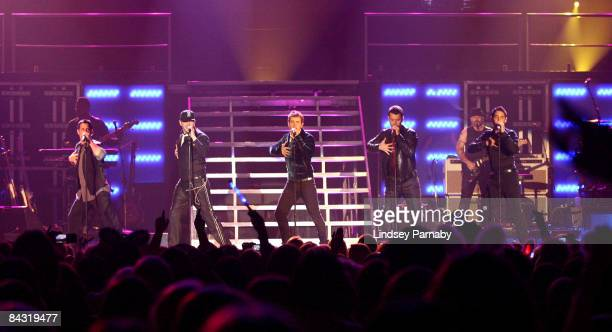 Newly reformed boy band New Kids On The Block Perform on stage for the first leg of their UK tour at the Manchester MEN Arena on January 16 2009 in...