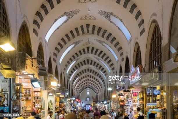 Newly restorated Spice Bazaar, shops and  lots of arches, Istanbul Turkey