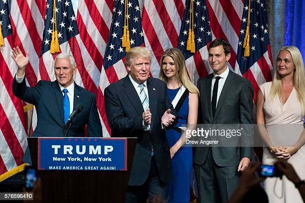 Newly selected vice presidential running mate Mike Pence governor of Indiana Republican presidential candidate Donald Trump daughter Ivanka Trump her...