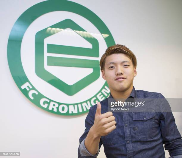 Newly signed FC Groningen midfielder Ritsu Doan poses for a photo in Groningen the Netherlands on June 29 2017 The 19yearold Japanese vowed to show...