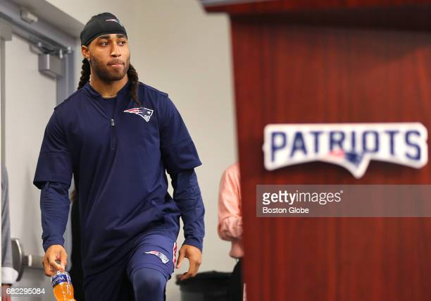 Newly signed New England Patriots cornerback Stephon Gilmore meets the media at an availability at the Gillette Stadium press room in Foxborough MA...