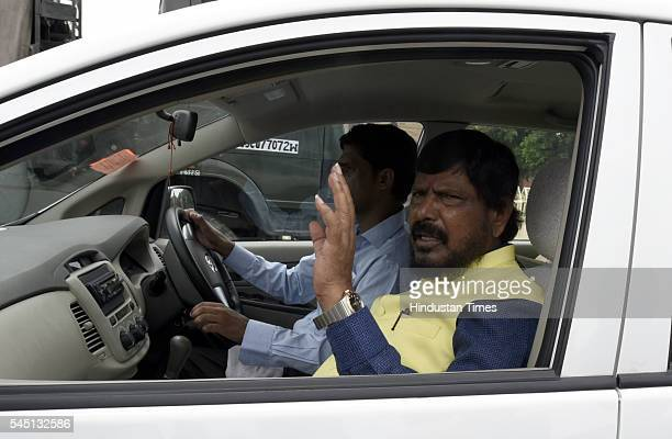Newly State Minister Ramdas Athawale leaves after swearingin ceremony of new ministers following Prime Minister Narendra Modi's cabinet reshuffle at...
