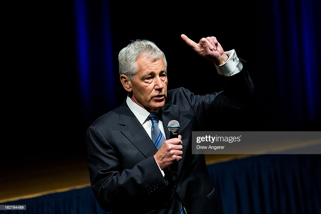 Newly sworn in U.S. Secretary of Defense <a gi-track='captionPersonalityLinkClicked' href=/galleries/search?phrase=Chuck+Hagel&family=editorial&specificpeople=504963 ng-click='$event.stopPropagation()'>Chuck Hagel</a> speaks to service members and employees of the Department of Defense during a daily staff meeting at the Pentagon February 27, 2013 in Arlington, Virginia. After a tumultuous confirmation hearing in the Senate, Hagel was sworn in during a small private ceremony on his first day at the Department of Defense.