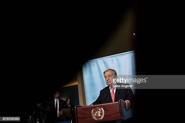 Newly swornin Secretary General of the United Nations Antonio Guterres speaks to reporters at UN Headquarters December 12 2016 in New York City...
