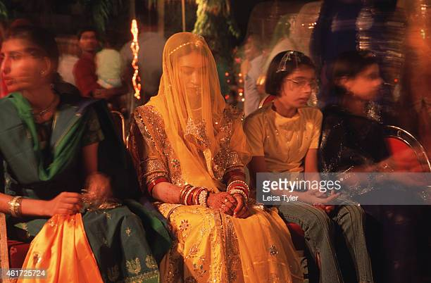 A newly wed bride on the last day of her three day wedding in Udaipur Rajasthan An arranged marriage the bride has met her husband only once before...
