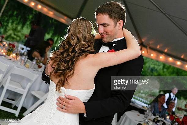 Newly Wedded Couple Dancing Slowly to the tune