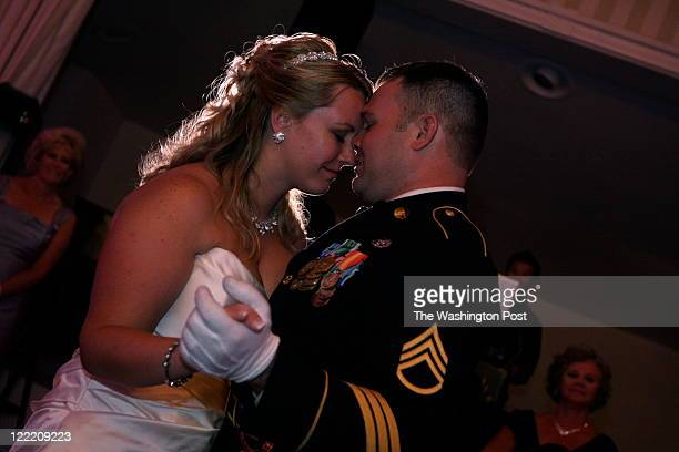 Newly weds Jennifer Zimmermann and Arthur during their first dance at their wedding reception at the Army Navy Club 1700 Army Navy Drive Arlington VA...