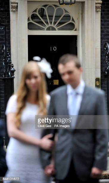 Newly weds Rhys and Esther Curnow outside 10 Downing Street London after handing over a box representing a petition for the Coalition for Marriage...