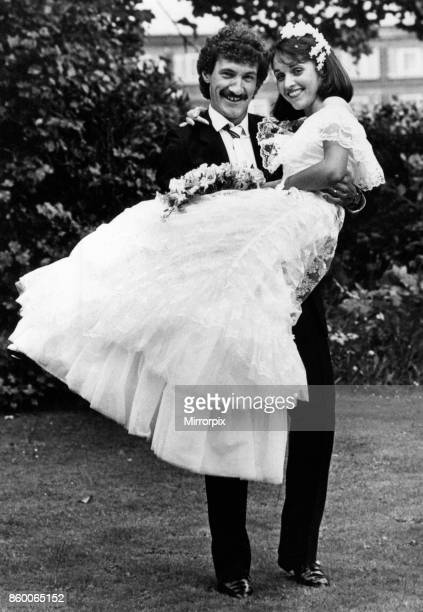 Newly Weds Terry McDermott and Carole Ann Robinson pictured on their wedding day at St Phillip's Church in Litherland Sefton Merseyside Saturday 30th...