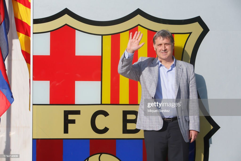 FC Newly-appointed Barcelona's football coach Gerardo Daniel 'Tata' Martino faces the media during a press conference at the Sant Joan Despi Sports Complex on July 25, 2013 in Barcelona, Spain.