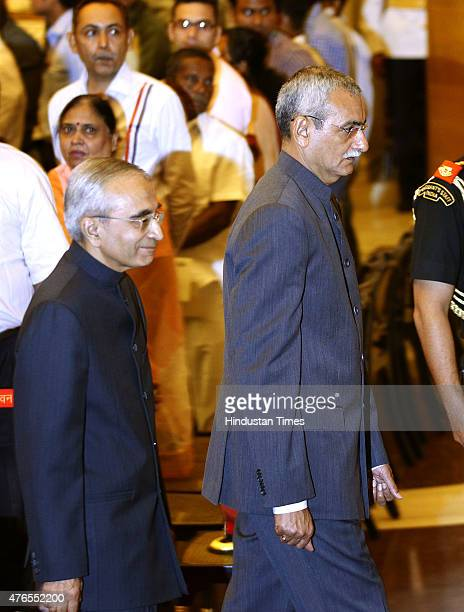 Newlyappointed Central Vigilance Commissioner KV Chowdary and Chief Information Commissioner Vijai Sharma leaves after taking oath from President...