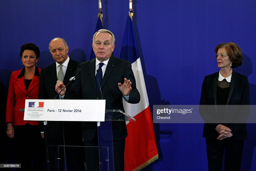 Newly-appointed Foreign Minister Jean-Marc Ayrault delivers a speech next to outgoing French Foreign Minister Laurent Fabius and his companion Marie-France Marchand Baylet during the official handover ceremony at the Ministry of Foreign Affairs on February 12, 2016 in Paris, France. French President Francois Hollande has appointed Jean-Marc Ayrault Foreign Minister during the reshuffle of February 11, 2016.