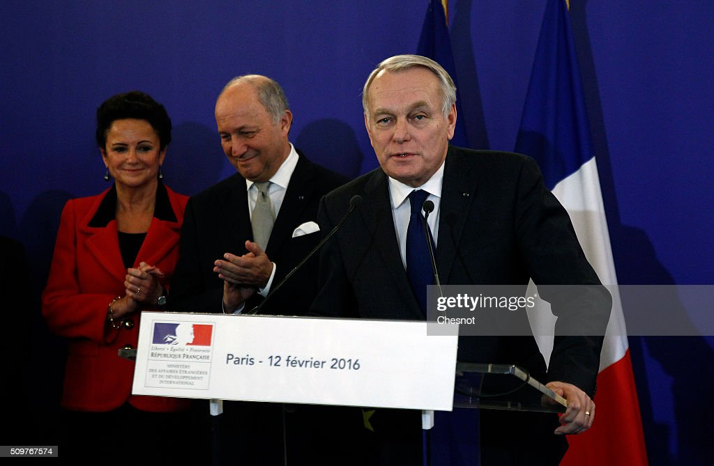 Newly-appointed Foreign Minister <a gi-track='captionPersonalityLinkClicked' href=/galleries/search?phrase=Jean-Marc+Ayrault&family=editorial&specificpeople=551961 ng-click='$event.stopPropagation()'>Jean-Marc Ayrault</a> delivers a speech next to outgoing French Foreign Minister <a gi-track='captionPersonalityLinkClicked' href=/galleries/search?phrase=Laurent+Fabius&family=editorial&specificpeople=540660 ng-click='$event.stopPropagation()'>Laurent Fabius</a> and his companion Marie-France Marchand Baylet during the official handover ceremony at the Ministry of Foreign Affairs on February 12, 2016 in Paris, France. French President Francois Hollande has appointed <a gi-track='captionPersonalityLinkClicked' href=/galleries/search?phrase=Jean-Marc+Ayrault&family=editorial&specificpeople=551961 ng-click='$event.stopPropagation()'>Jean-Marc Ayrault</a> Foreign Minister during the reshuffle of February 11, 2016.