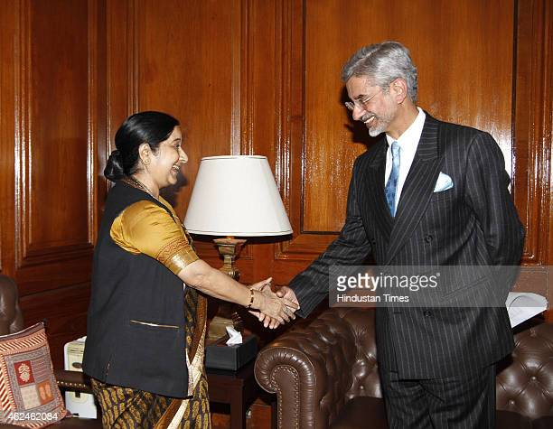 Newlyappointed Foreign Secretary S Jaishankar meets External Affairs Minister Sushma Swaraj after assuming charge at Ministry of External Affairs at...