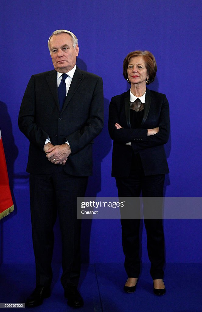 Newly-appointed French Foreign Minister <a gi-track='captionPersonalityLinkClicked' href=/galleries/search?phrase=Jean-Marc+Ayrault&family=editorial&specificpeople=551961 ng-click='$event.stopPropagation()'>Jean-Marc Ayrault</a> and his wife Brigitte Ayrault attend the official handover ceremony at the Ministry of Foreign Affairs on February 12, 2016 in Paris, France. French President Francois Hollande has appointed <a gi-track='captionPersonalityLinkClicked' href=/galleries/search?phrase=Jean-Marc+Ayrault&family=editorial&specificpeople=551961 ng-click='$event.stopPropagation()'>Jean-Marc Ayrault</a> Foreign Minister during the reshuffle of February 11, 2016.