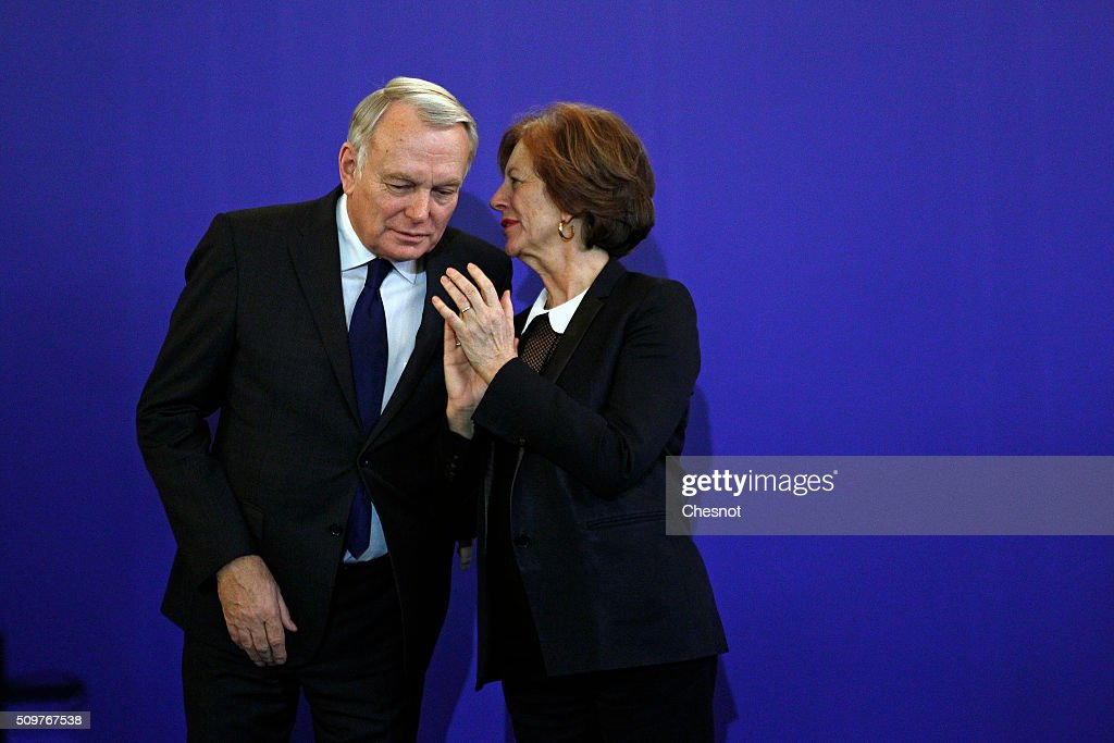 Newly-appointed French Foreign Minister Jean-Marc Ayrault and his wife Brigitte Ayrault attend the official handover ceremony at the Ministry of Foreign Affairs on February 12, 2016 in Paris, France. French President Francois Hollande has appointed Jean-Marc Ayrault Foreign Minister during the reshuffle of February 11, 2016.