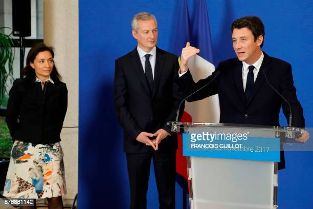 Newlyappointed French Junior Minister for Economy Delphine GenyStephann French Economy Minister Bruno Le Maire and outgoing French Junior Minister...