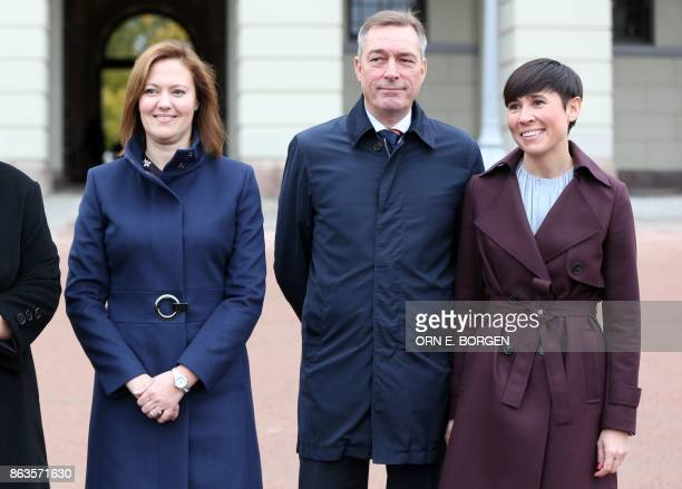 Newlyappointed Minister for EEA and EU Affairs Marit Berger Rosland Minister of Defence Frank BakkeJensen and Foreign Affairs Minister Ine Eriksen...