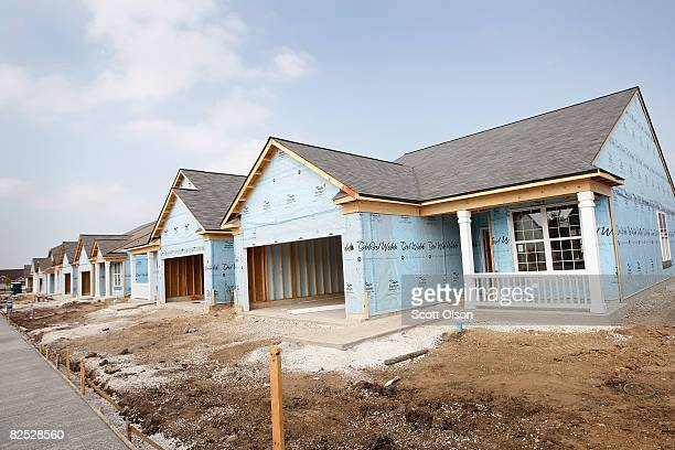 Newlyconstructed homes await finishing in a development August 19 2008 in Huntley Illinois According to the US Commerce Department new home...