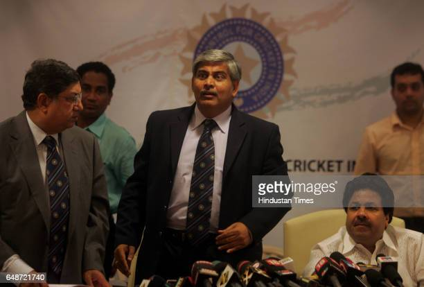 Newlyelected Board of Control for Cricket in India President Shashank Manohar center speaks at a press conference at the BCCI headquarters in Mumbai...