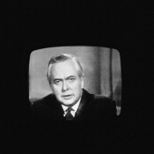 Newlyelected British Prime Minister Harold Wilson speaking on television UK 26th October 1964