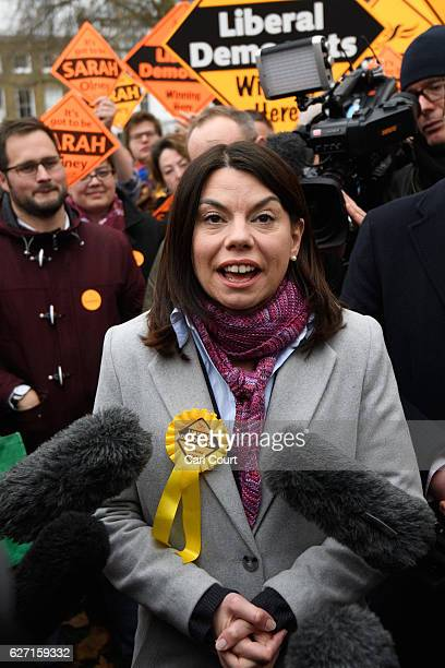 Newlyelected Liberal Democrat MP Sarah Olney speaks to the media following her victory in the Richmond Park byelection on December 2 2016 in London...