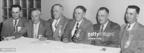 Newlyelected officers of the Colorado Sheriffs and Peace Officers association are shown here left to right Robe Fulton of Rio Blanco president R...