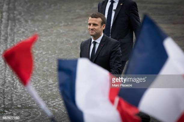 Newlyelected President Emmanuel Macron is seen on the ChampsElysees avenue after the handover ceremony with France's outgoing President Francois...