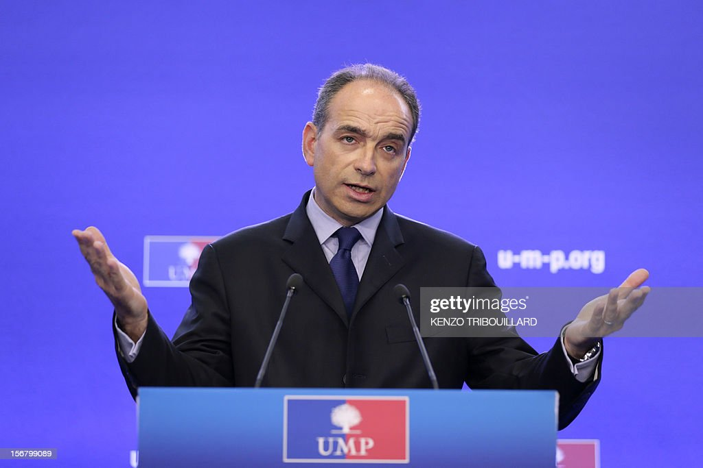Newly-elected president of the right-wing UMP opposition party, Jean-Francois Cope, gives a press conference on November 21, 2012 at the UMP's headquarters in Paris.