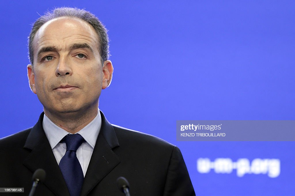 Newly-elected president of the right-wing UMP opposition party, Jean-Francois Cope, gives a press conference on November 21, 2012 at the UMP's headquarters in Paris. Former French prime minister Francois Fillon, who lost by just 98 votes to Sarkozy's close ally Jean-Francois Cope in Sunday's vote, said the count did not include ballots cast in some of France's overseas territories which would have handed him victory. Cope, a fiery and famously ambitious right-winger known for flirting with the far-right, rejected any talk of overturning the results and called for the party to unite under his banner.