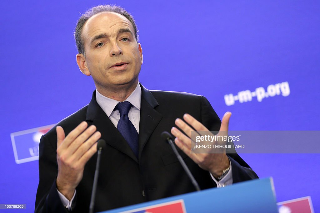 Newly-elected president of the right-wing UMP opposition party, Jean-Francois Cope, gives a press conference on November 21, 2012 at the UMP's headquarters in Paris. Former French prime minister Francois Fillon, who lost by just 98 votes to Nicolas Sarkozy's close ally Jean-Francois Cope in Sunday's vote, said the count did not include ballots cast in some of France's overseas territories which would have handed him victory. Cope, a fiery and famously ambitious right-winger known for flirting with the far-right, rejected any talk of overturning the results and called for the party to unite under his banner.