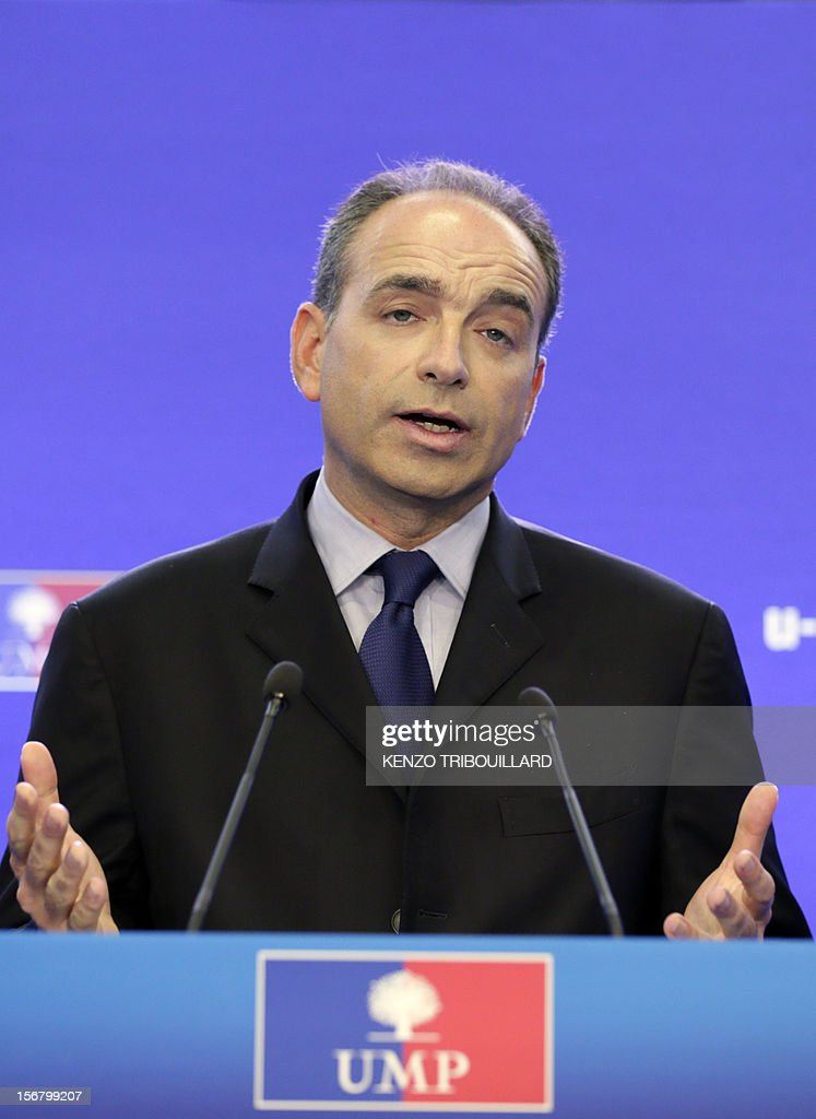 Newly-elected president of the right-wing UMP opposition party, Jean-Francois Cope, gives a press conference on November 21, 2012 at the UMP's headquarters in Paris. Former French prime minister Francois Fillon, who lost by just 98 votes to Nicolas Sarkozy's close ally Jean-Francois Cope in Sunday's vote, said the count did not include ballots cast in some of France's overseas territories which would have handed him victory. Cope, a fiery and famously ambitious right-winger known for flirting with the far-right, rejected any talk of overturning the results and called for the party to unite under his banner. AFP PHOTO KENZO TRIBOUILLARD