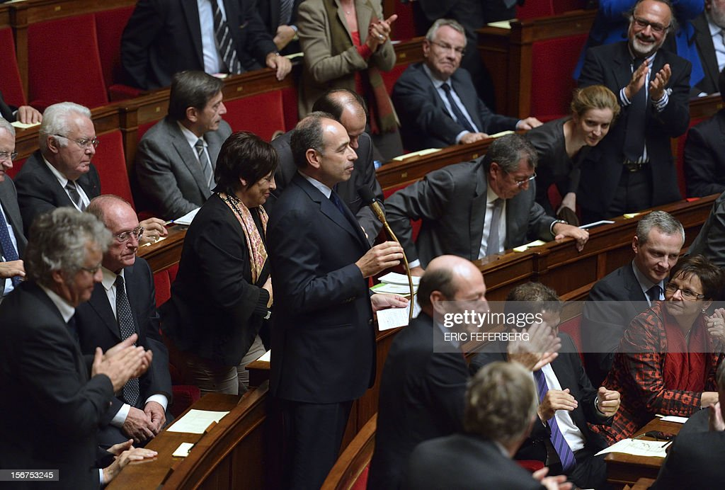 Newly-elected president of the right-wing UMP opposition party, Jean-Francois Cope speaks during the weekly session of questions at the National Assembly on November 20, 2012 in Paris. AFP PHOTO ERIC FEFERBERG