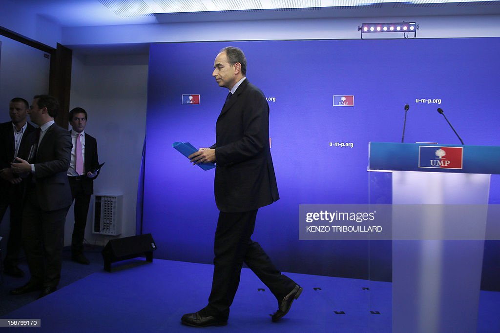 Newly-elected president of the right-wing UMP opposition party, Jean-Francois Cope, leaves after a press conference on November 21, 2012 at the UMP's headquarters in Paris. Former French prime minister Francois Fillon, who lost by just 98 votes to Nicolas Sarkozy's close ally Jean-Francois Cope in Sunday's vote, said the count did not include ballots cast in some of France's overseas territories which would have handed him victory. Cope, a fiery and famously ambitious right-winger known for flirting with the far-right, rejected any talk of overturning the results and called for the party to unite under his banner.